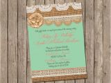 Mint and Coral Bridal Shower Invitations Mint and Coral Burlap Wedding Invitation Bridal Shower