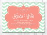 Mint and Coral Bridal Shower Invitations Mint Bridal Shower Invitation Modern Chevron In Mint