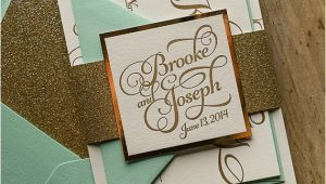 Mint and Gold Wedding Invites Mint Gold Wedding Invitation Gold Glitter Wedding