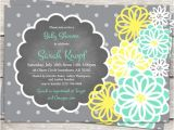 Mint Green and Yellow Baby Shower Invitations Baby Shower Invitation In Teal Mint Green Yellow and Grey