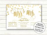 Miss to Mrs Bridal Shower Invitations Miss to Mrs Gold Bridal Shower Invitation Printable Wedding