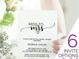 Miss to Mrs Bridal Shower Invitations Wedding Invitation Templates and Wording