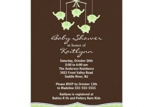 Mobile Baby Shower Invitations Green Elephant Mobile Baby Shower Invitation