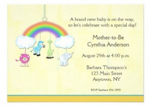 Mobile Baby Shower Invitations Jungle Mobile Yellow Baby Shower Invitation