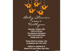 Mobile Baby Shower Invitations orange Elephant Mobile Baby Shower Invitation