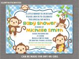 Monkey Baby Shower Invitations for Boys Monkey Baby Shower Invitation Boy Baby Shower Invitation