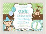 Monkey Invites First Birthday Boys Blue and Green Monkey 1st Birthday Invitation