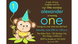 Monkey Invites First Birthday Cute Little Monkey First Birthday Invitation Zazzle