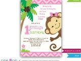 Monkey Invites First Birthday Girl Monkey Birthday Invitation Jungle Girl First Birthday