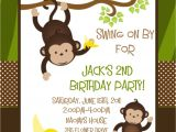 Monkey Invites First Birthday Monkey Birthday Invitation Printable or Printed Monkey 1st