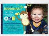 Monkey Invites First Birthday Monkey First Birthday Invitation Customized with Your Photo