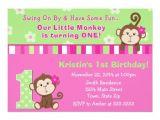 Monkey Invites First Birthday Monkey Girl 1st Birthday Invitation 5×7 Card Zazzle