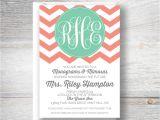 Monogram and Mimosa Bridal Shower Invitations Designs by Nicolina Monogram & Mimosa Bridal Shower