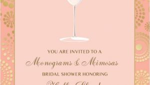Monogram and Mimosa Bridal Shower Invitations Monogram and Mimosas Bridal Shower Invitation Pink Gold