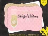 Monogram and Mimosa Bridal Shower Invitations Nealon Design Mimosas & Monograms — Bridal Shower Invitation
