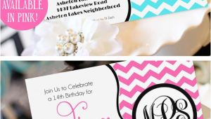 Monogram Birthday Invitations Teen Girl Birthday Invitation Monogram Birthday Invitation