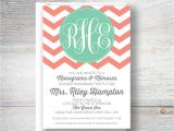 Monogram Bridal Shower Invitations Designs by Nicolina Monogram Mimosa Bridal Shower