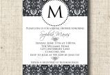 Monogram Bridal Shower Invitations Printable Damask Bridal Shower Invitation Card with