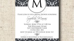 Monogram Bridal Shower Invitations Printable Damask Bridal Shower Invitation Card with