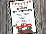 Monster theme Party Invitations Custom Printable Monster Truck Birthday Party Invitation