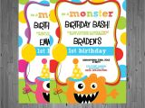 Monster theme Party Invitations Monster Birthday Invitation First Birthday by Abbyreesedesign