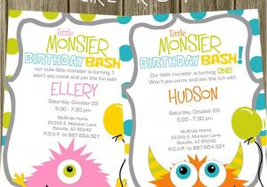 Monster theme Party Invitations Monster Birthday Party Invitation
