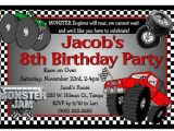 Monster Truck Birthday Invitations Party City Monster Jam Monster Truck Birthday Party Invitations Ebay