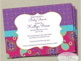 Moroccan Baby Shower Invitations Moroccan Baby Shower Invitation Fuchsia & Purple Paisley