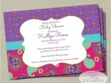Moroccan Party Invitations Templates Moroccan Baby Shower Invitation Fuchsia & Purple Paisley