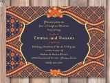 Moroccan Party Invitations Templates Navy and orange Boho Morocco Printable Bridal Shower
