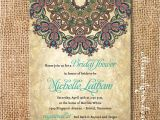 Moroccan themed Bridal Shower Invitations Boho Medallion Bridal Shower Invitation Rustic byzantine