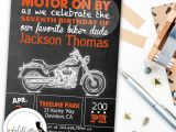 Motorcycle Birthday Party Invitations Harley Davidson Birthday Party Invitation Chalkboard