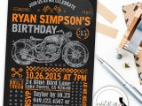Motorcycle Birthday Party Invitations Motorcycle Birthday Party Invitation Chalkboard Invite