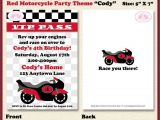 Motorcycle Birthday Party Invitations Motorcycle Birthday Party Invitation Red Black Grey Girl Boy