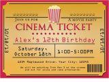 Movie theater Birthday Party Invitations Cinema Movie theater Popcorn Ticket Birthday Party event