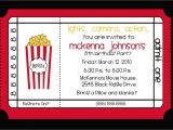 Movie theater Birthday Party Invitations Movie theater Birthday Party Invitation by Nattysuedesigns1