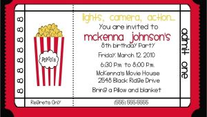 Movie theater Birthday Party Invitations Movie theater Birthday Party Invitation by Nattysuedesigns1