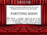 Movie theater Birthday Party Invitations Movie theater Birthday Party Invitations for A Night at the