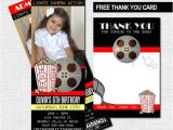 Movie theater Birthday Party Invitations Movie Ticket Invitations theater Birthday Party Bonus Thank