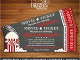 Movie theater Birthday Party Invitations Printable Chalkboard Movie Ticket Birthday Invitation