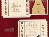 Movie theater Wedding Invitations Antique theatre Ticket Custom Wedding Invitation Sample