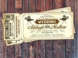 Movie theater Wedding Invitations Art Decovintage Retro Save the Date Ticket Announcement