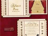 Movie themed Wedding Invites Antique theatre Ticket Custom Wedding Invitation Sample