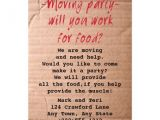 Moving Party Invitation Wording Moving Day Party Invitation Work for Food 13 Cm X 18 Cm