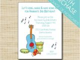 Music themed Birthday Party Invitations Music Birthday Invitation Kids Music themed Party