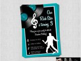 Music themed Birthday Party Invitations Rock Roll Music Birthday Party Invitation by