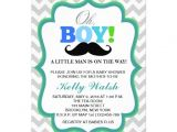 Mustache Invitations for Baby Shower Oh Boy Mustache Baby Shower Invitations Chevron
