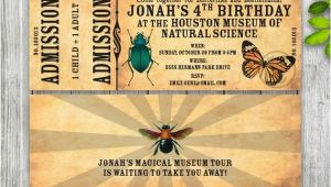 Nature themed Birthday Party Invitations Science Museum Invitation Ticket Nature Insect Invitation