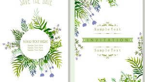 Nature Wedding Invitation Template Wedding Invitation Card Template Nature theme Green Leaves