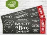 Naughty or Nice Party Invitations Printable Naughty or Nice Holiday Party Chalkboard Ticket